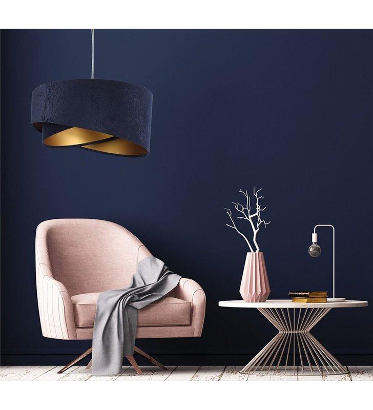 Granatowo złota abażurowa lampa wisząca Abella Złota do salonu sypialni pokoju dziennego
