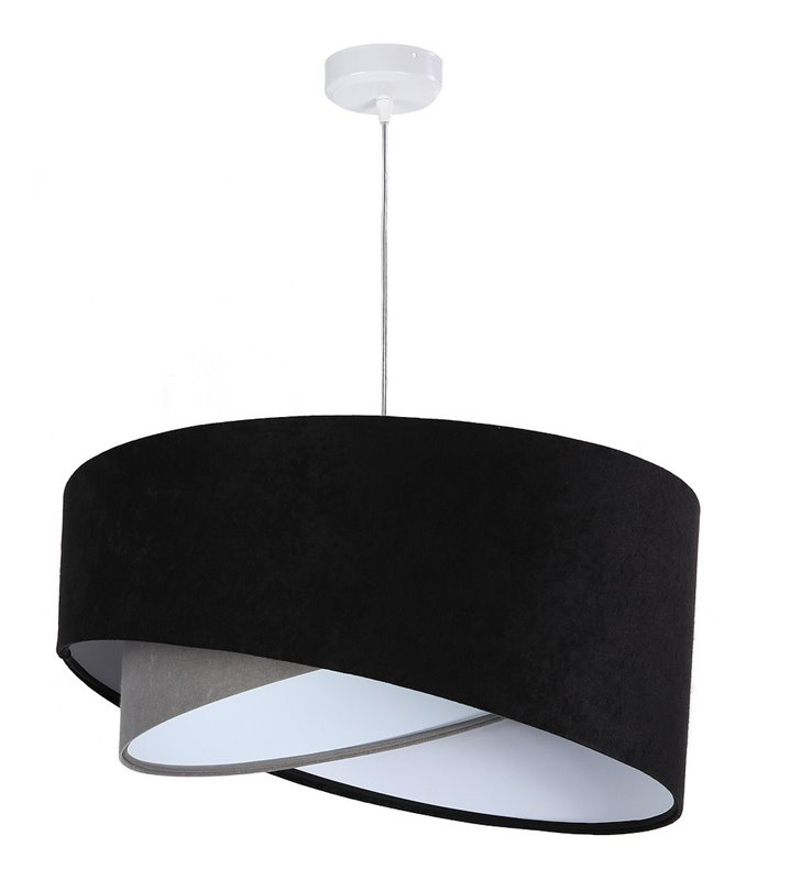Lampa wisząca Dorotea czarno szary abażur  do salonu sypialni pokoju dziennego