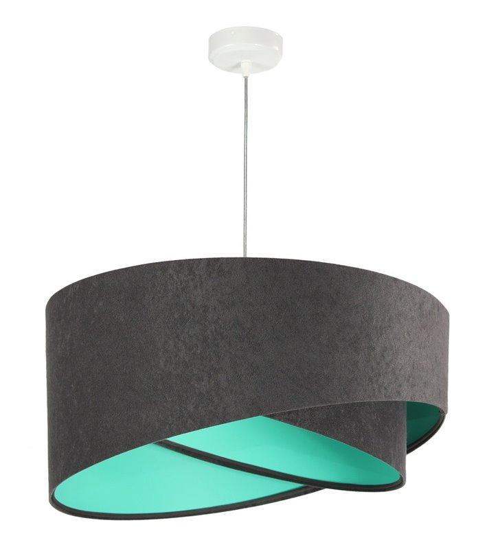 Nowoczesna wisząca lampa Felipa szary welur wnętrze kolor morski do pokoju dziecka do salonu jadalni sypialni