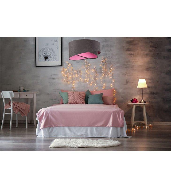 50cm lampa wisząca Aleta szary welurowy abażur różowy środek