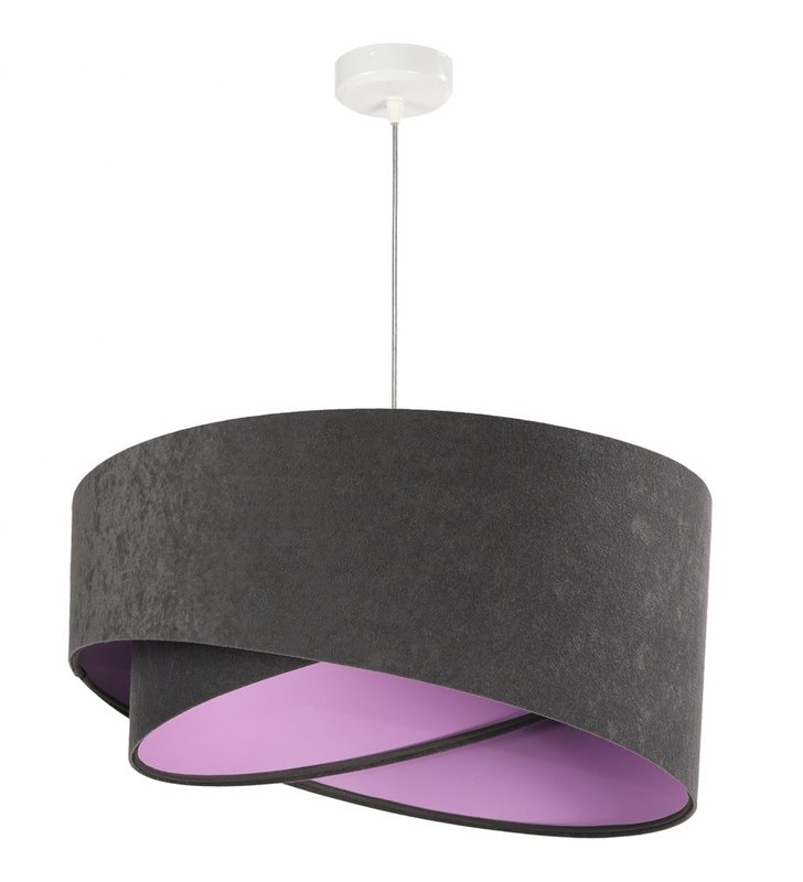 Welurowa abażurowa 50cm lampa wisząca Miranda szara od wewnątrz liliowa do salonu kuchni sypialni pokoju dzicka