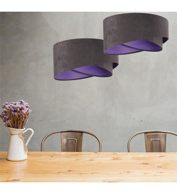Abażurowa 50cm lampa wisząca Zahara szara od wewnątrz fioletowa do salonu kuchni sypialni pokoju dziecka