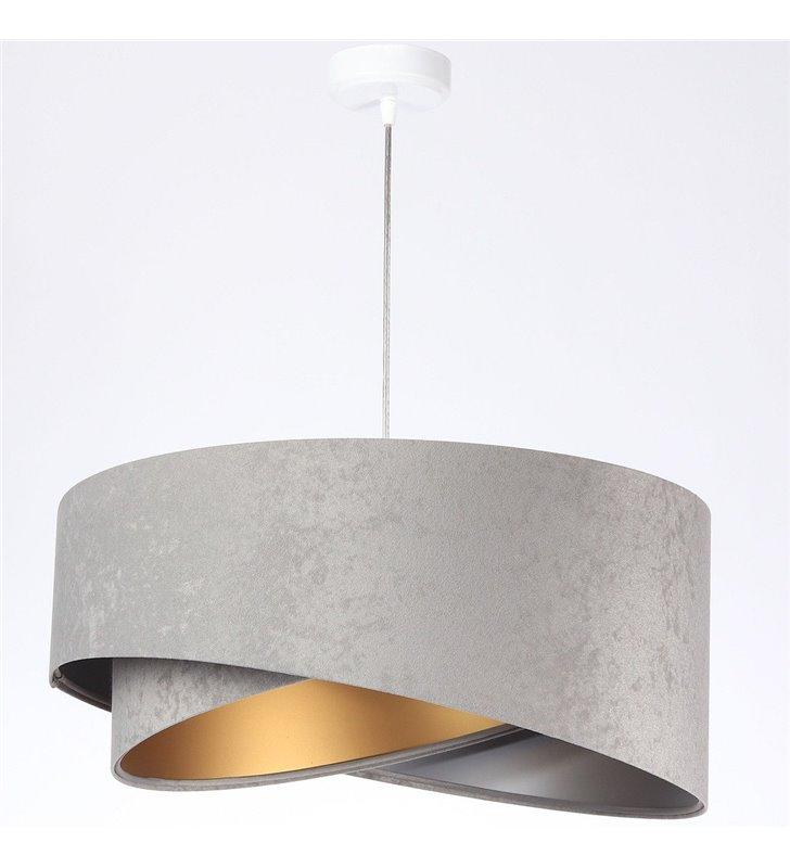 Lampa wisząca Rebeca szara środek srebrno złoty abażur 50cm do salonu sypialni jadalni