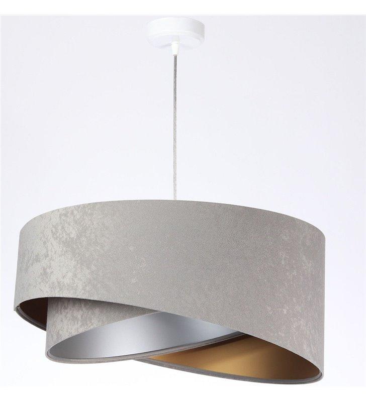 Lampa wisząca Basilia szara środek srebrno złoty abażur welur 50cm do salonu sypialni jadalni