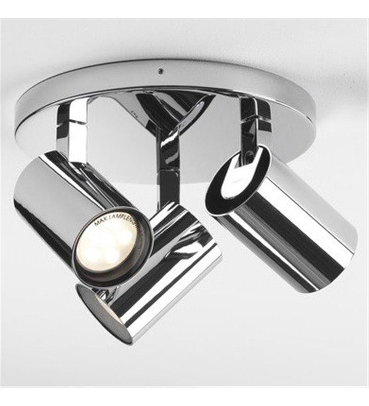 Okrągła lampa sufitowa do łazienki Aqua chrom 3 ruchome klosze