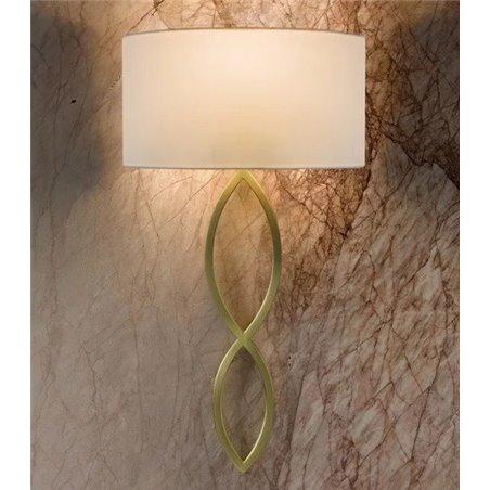 Caserta biało złoty stylowy kinkiet z abażurem duży do salonu sypialni jadalni