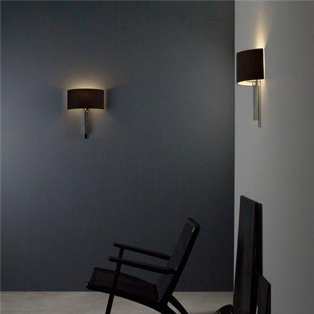 Tate stylowa abażurowa lampa ścienna chrom czarny do salonu sypialni jadalni na korytarz