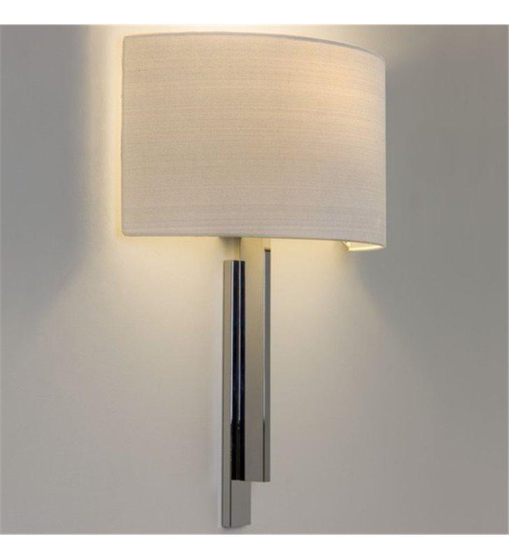 Stylowa abażurowa lampa ścienna Tate chrom biały do salonu sypialni jadalni na przedpokój