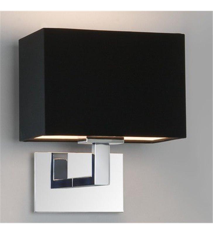 Kinkiet w stylu hotelowym Connaught korpus chrom czarny prostokątny abażur do salonu sypialni na przedpokój