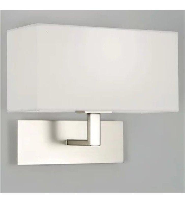 Park Lane nowoczesny kinkiet z matowym niklowanym korpusem prostokątny biały abażur do pokoju dziennego gościnnego sypialni