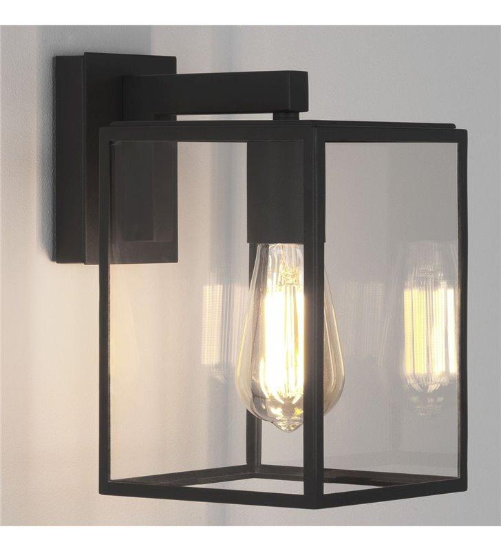 Czarny kinkiet do ogrodu Box Lantern bezbarwne szkło