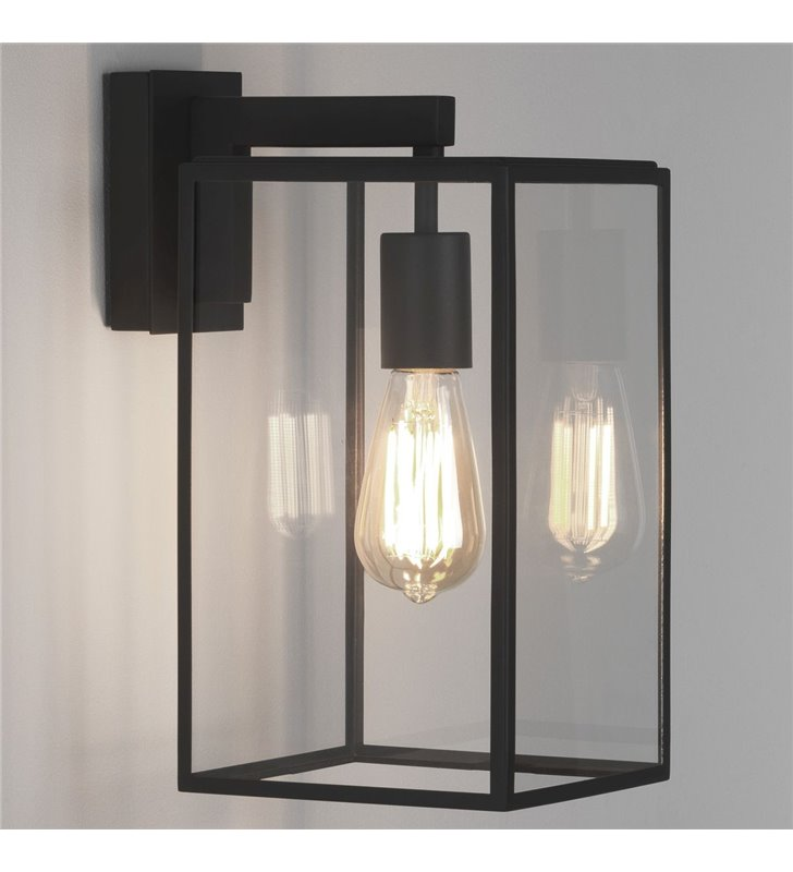 Nowoczesny czarny kinkiet ogrodowy Box Lantern bezbarwne szkło