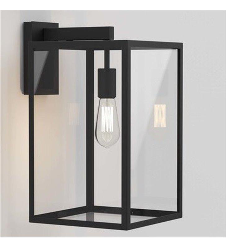 Duży nowoczesny czarny kinkiet ogrodowy Box Lantern bezbarwne szkło