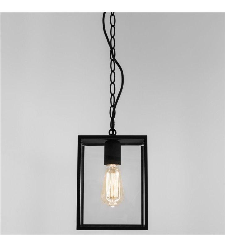 Czarna lampa wisząca do ogrodu Homefield klosz przezroczysty