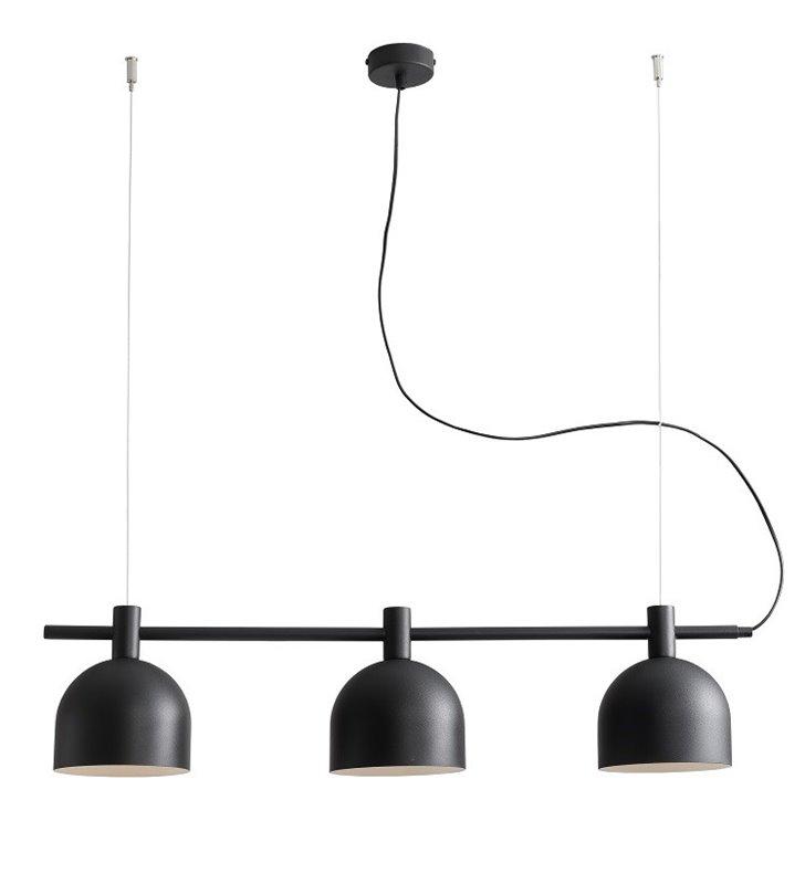 Beryl Black lampa wisząca na belce czarna 3 żarówki podłużna nad stół wyspę kuchenną do salonu jadalni kuchni