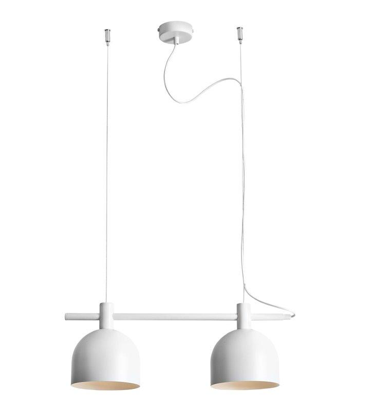 Biała 2 kloszowa metalowa lampa wisząca Beryl White do salonu jadalni kuchni nad stół wyspę kuchenną