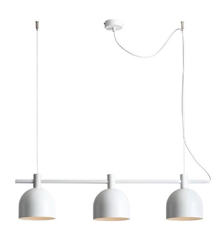 Beryl White biała lampa wisząca z metalu belka 3 żarówki do salonu jadalni kuchni nad stół wyspę kuchenną