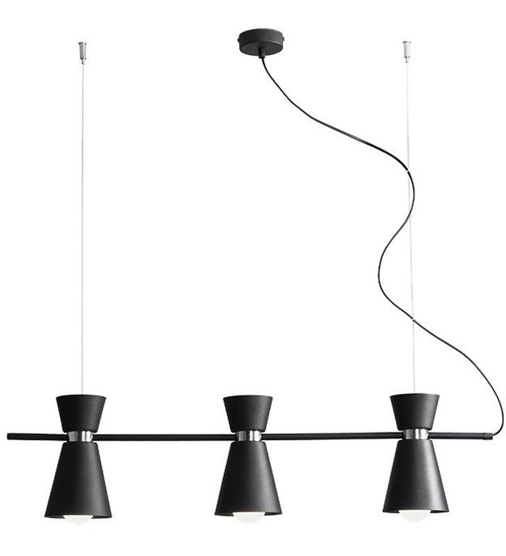 Lampa wisząca Kedar Black czarna matowa z chromowanym wykończeniem potrójna na belce np. nad stół wyspę kuchenną
