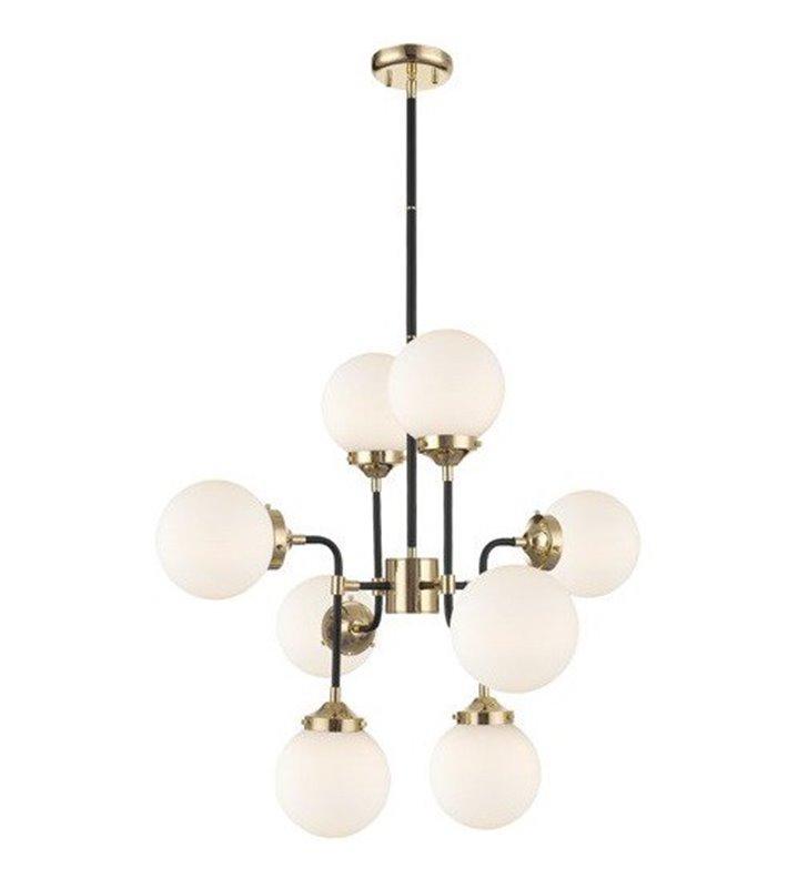 Nowoczesny żyrandol 8 ramienny lampa wisząca Riano czarno złoty klosze kule do sypialni salonu kuchni jadalni