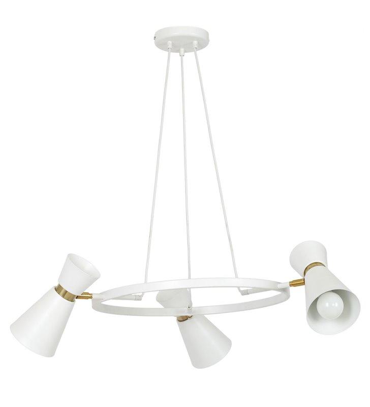Żyrandol lampa wisząca Kedar White biała obręcz z 3 kloszami 3 żarówki detale w kolorze mosiądz styl nowoczesny