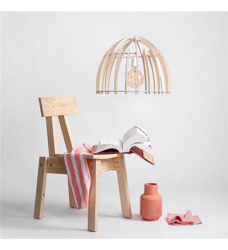 Lampa wisząca Forest w stylu eko drewniany klosz w kolorze naturalnym do salonu sypialni jadalni