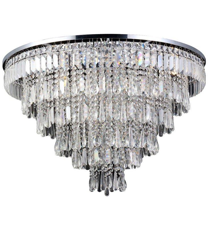 Bardzo duży kryształowy plafon Kalabria 80cm wykończenie chrom kaskadowy do salonu sypialni do dużych pomieszczeń