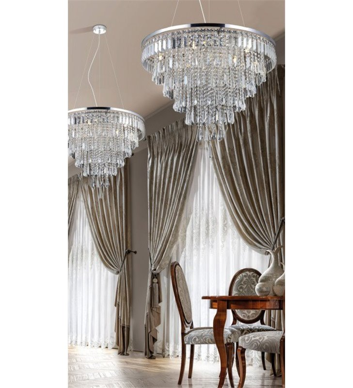 Bardzo duża okrągła kaskadowa kryształowa lampa wisząca Kalabria średnica 80cm do dużego pomieszczenia salonu sypialni hotelu