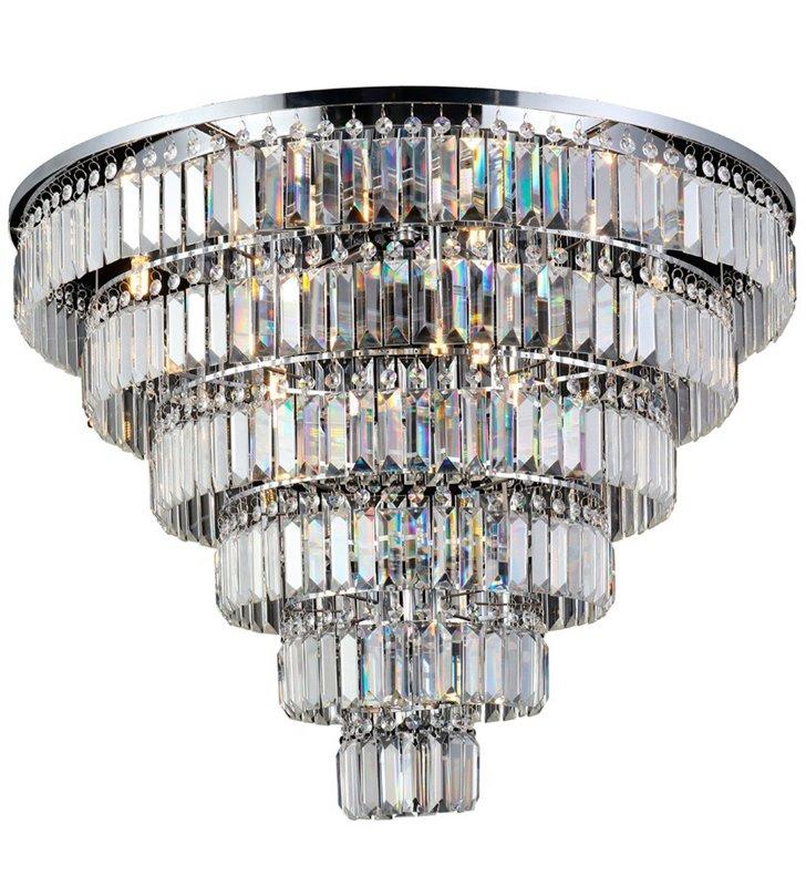 80cm okrągły plafon kryształowy Salerno podłużne bezbarwne kryształy do salonu sypialni na hol do restauracji hotelu