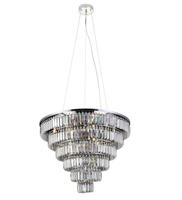 Lampa wisząca Salerno 80cm podłużne kryształy kaskadowy klosz chrom do eleganckich stylowych wnętrz