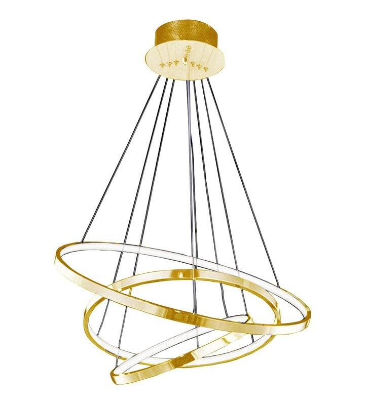 3 obręczowa nowoczesna LEDowa lampa wisząca Wheel złota możliwość ściemniania