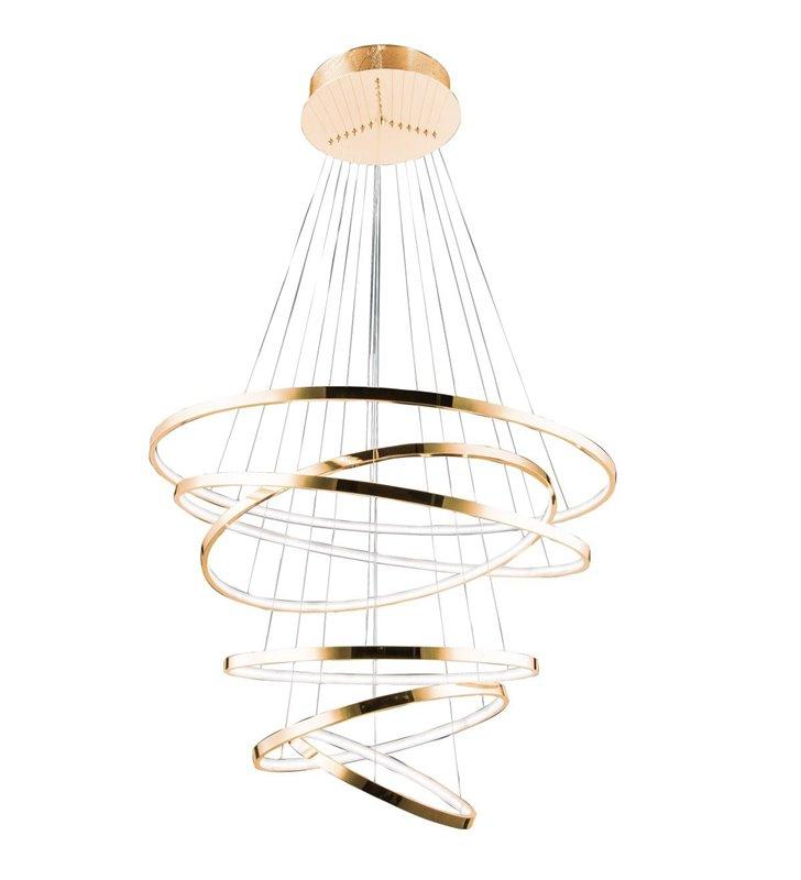 Duża złota lampa wisząca z 6 obręczami Wheel długa 3m nowoczesna