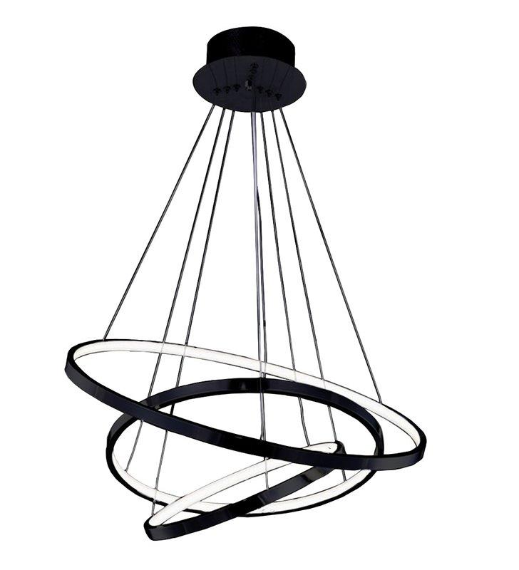 Nowoczesna lampa wisząca Wheel czarna 3 obręcze możliwość ściemniania średnica 75cm