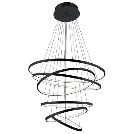 Duża czarna lampa wisząca Wheel 6 obręczy długa 3m