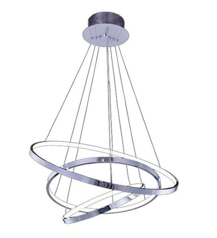 Lampa wisząca Wheel Big chrom nowoczesna LED 3 obręcze