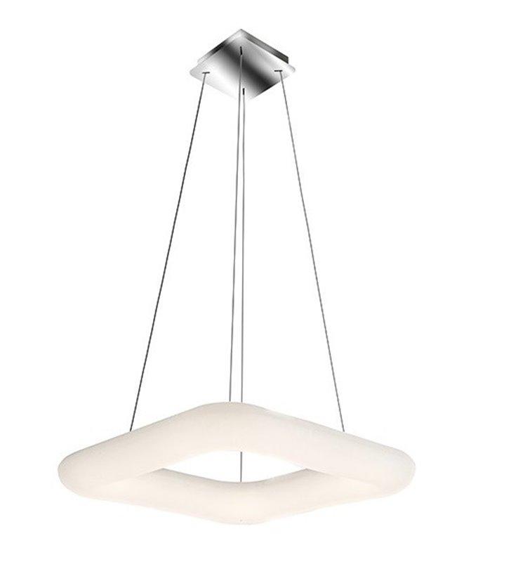 Nowoczesna biała lampa wisząca Donut LED kwadratowa 46cm pilot regulacja barwy światła