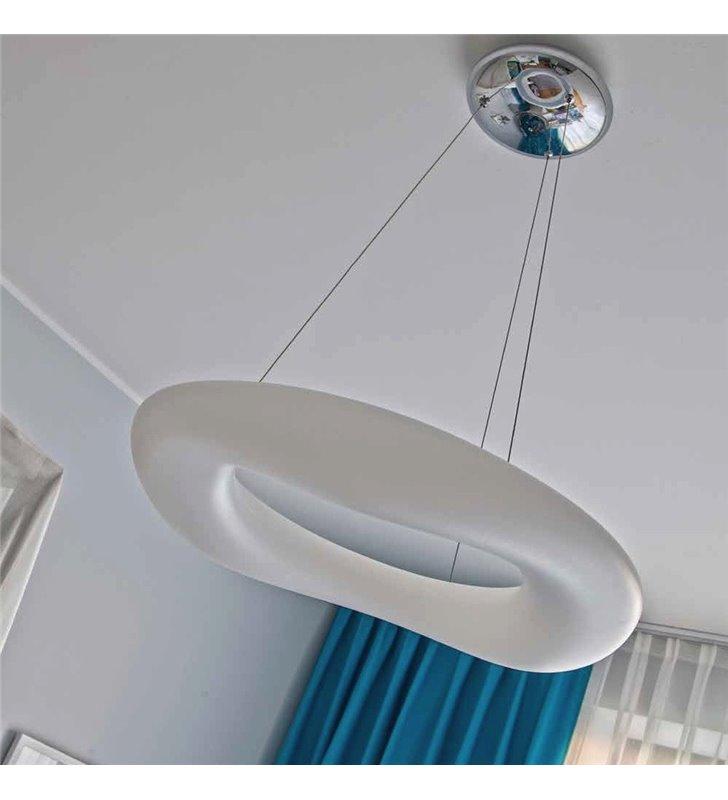 Duża biała lampa wisząca Donut LED 90cm pilot ściemniacz barwa ciepła naturalna zimna