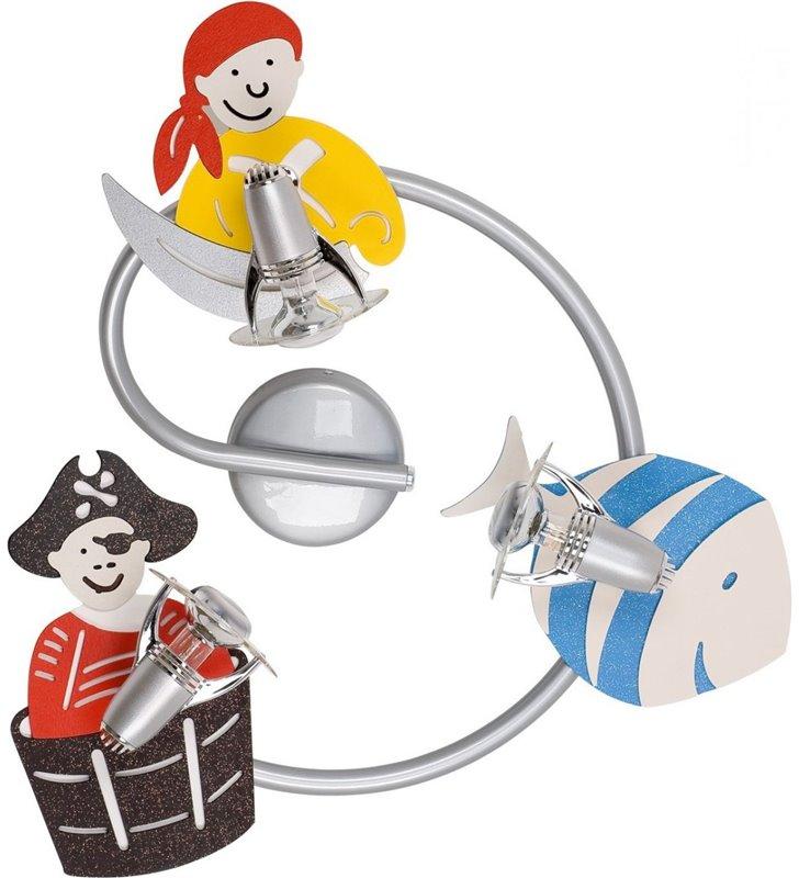 Dziecięca chłopięca lampa sufitowa Pirate spirala 3 żarówki z piratami do pokoju dziecka - OD RĘKI