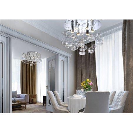 Duży dekoracyjny plafon ze szklanymi bezbarwnymi bańkami Luvia 80cm do salonu sypialni na przedpokój do dużych pomieszczeń