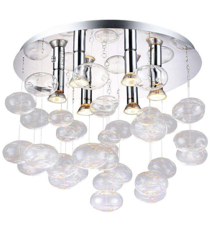 Dekoracyjny elegancki plafon ze szklanymi bezbarwnymi bańkami Luvia do salonu sypialni na hol