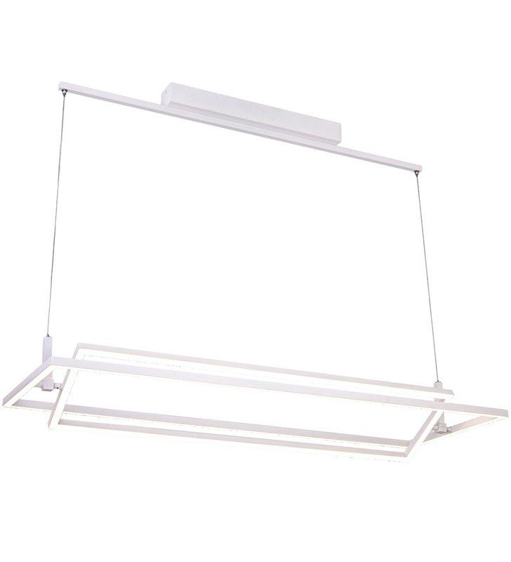 Nowoczesna biała lampa wisząca Viena 2 prostokątne klosze LED możliwość ściemniania do salonu kuchni jadalni