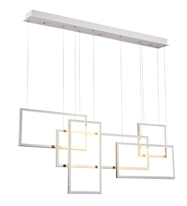 Lampa wisząca Quadratus biała LED duża geometryczna nowoczesna ściemnialna np. do wnętrz industrialnych loft