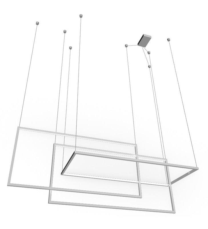 Biała geometryczna nowoczesna lampa wisząca Metric LED z możliwością ściemniania max długość zwisu 2,5m do wysokich pomieszczeń