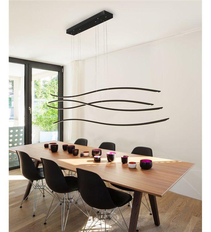 Lampa wisząca Waves LED czarna długość klosza 160cm możliwość ściemniania np. nad duży stół do jadalni sali konferencyjnej