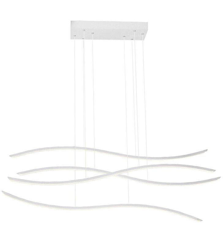 Biała nowoczesna lampa wisząca Waves LED długość klosza 160cm możliwość ściemniania nad duży stół do jadalni sali konferencyjnej
