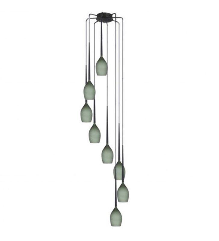 Oliwkowa 8 zwisowa lampa wisząca spirala kaskada Izza długa 2,8m szklane klosze np. nad schody do wysokich pomieszczeń