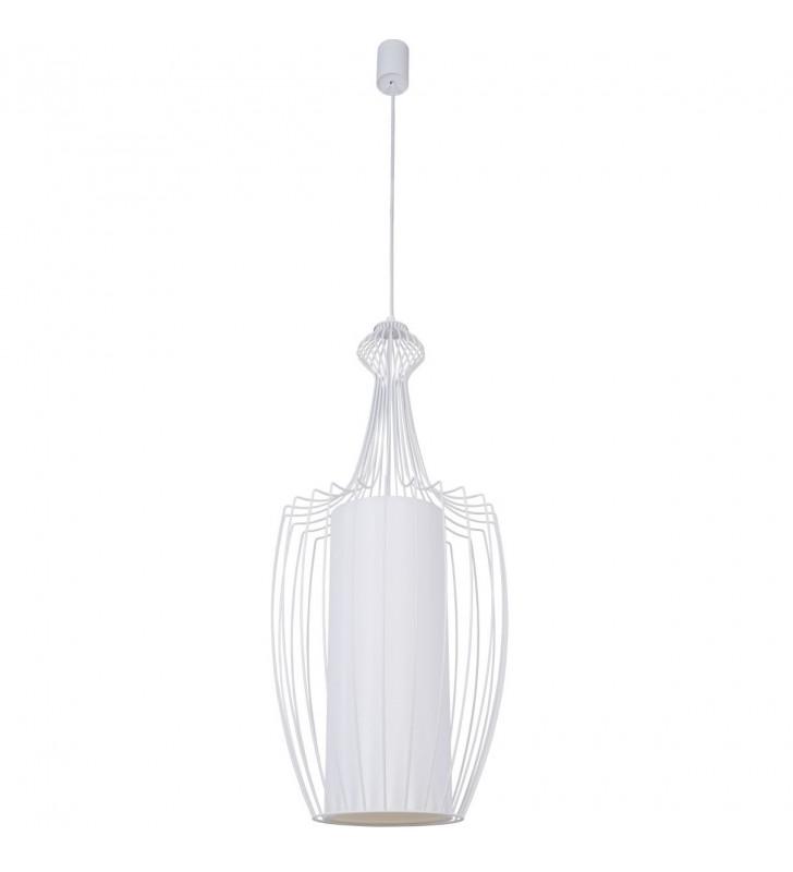 Biała wysoka lampa wisząca...