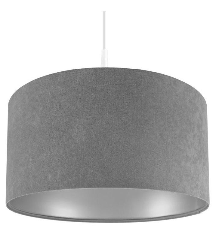 Kamelia Srebrna szara lampa wisząca wewnątrz srebrna abażur welurowy do jadalni kuchni nad stół do salonu sypialni