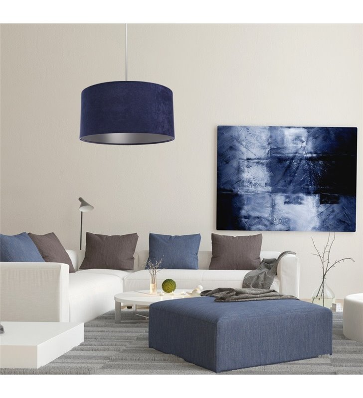 Lampa wisząca Lobelia Srebrna abażur granatowy welurowy ze srebrnym wnętrzem do salonu jadalni kuchni sypialni