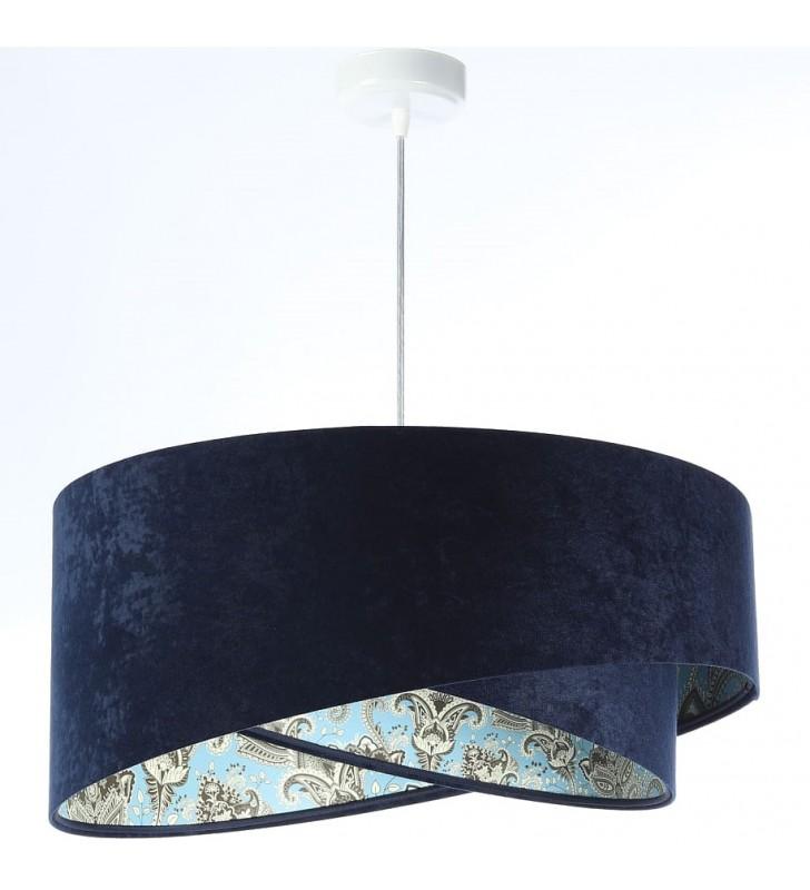 Granatowa lampa wisząca ze...