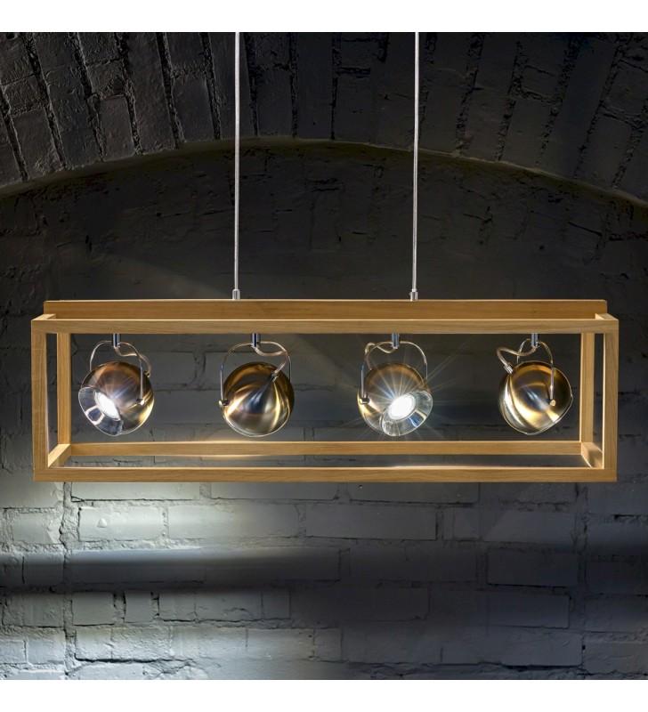 Podłużna drewniana lampa...